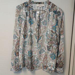 LOFT paisley romantic blouse XS